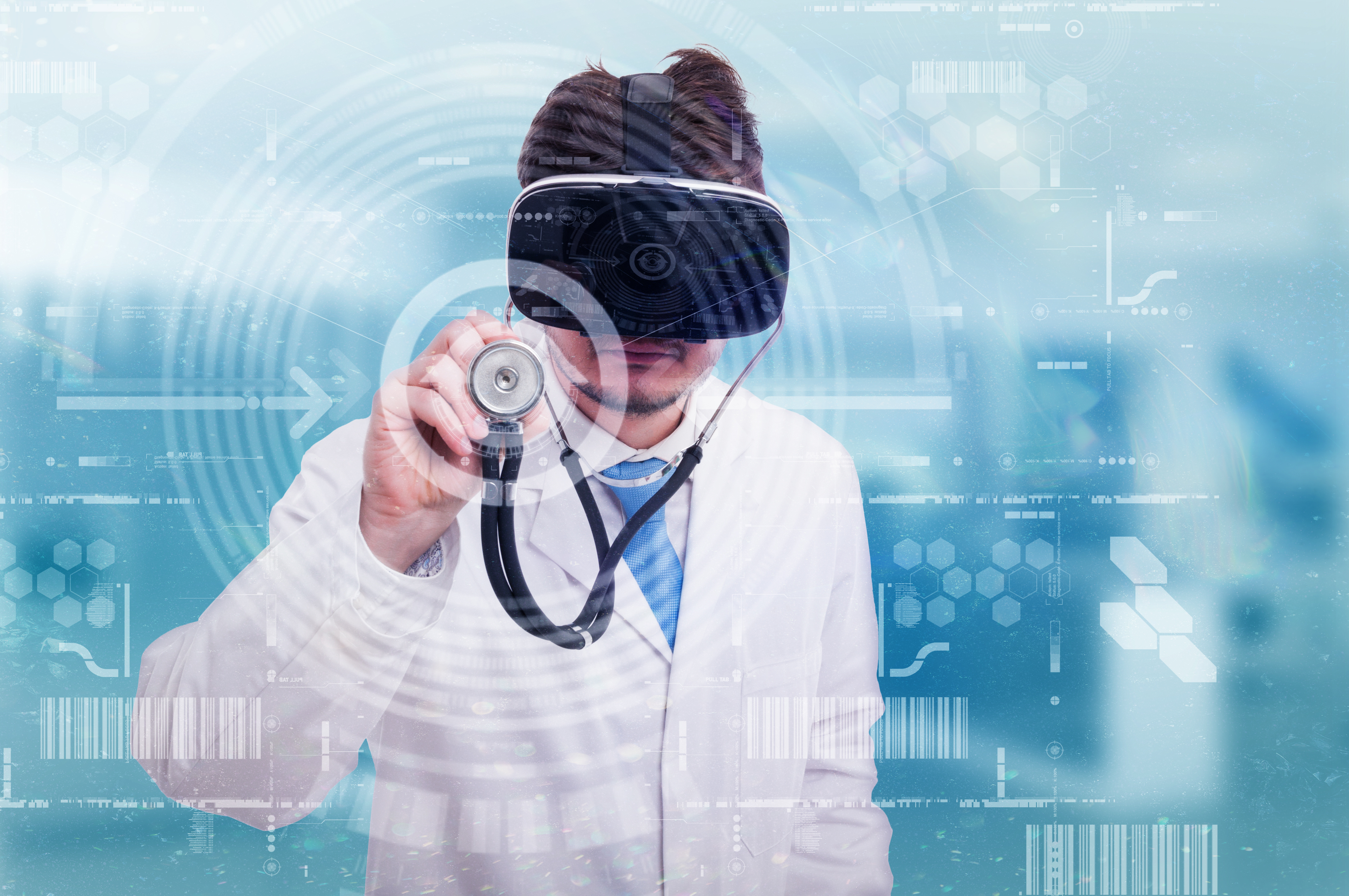 Doctor with modern glasses listening with stethoscope on futuristic screen