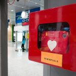 KUALA LUMPUR - MAR 23: HeartStart defibrillator install in public location in the departure of the Kuala Lumpur International Airport for prepared to provide life-saving cardiopulmonary resuscitation in Malaysia 23 March 2017.