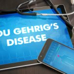 Lou Gehrig's disease (neurological disorder) diagnosis medical concept on tablet screen with stethoscope.