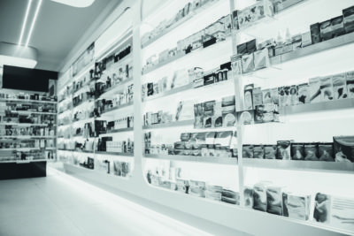 Modern pharmacy with variety of medications and cosmetics for everyone