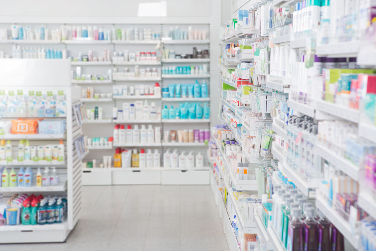 Pharmacy interior with shalldow depth of field